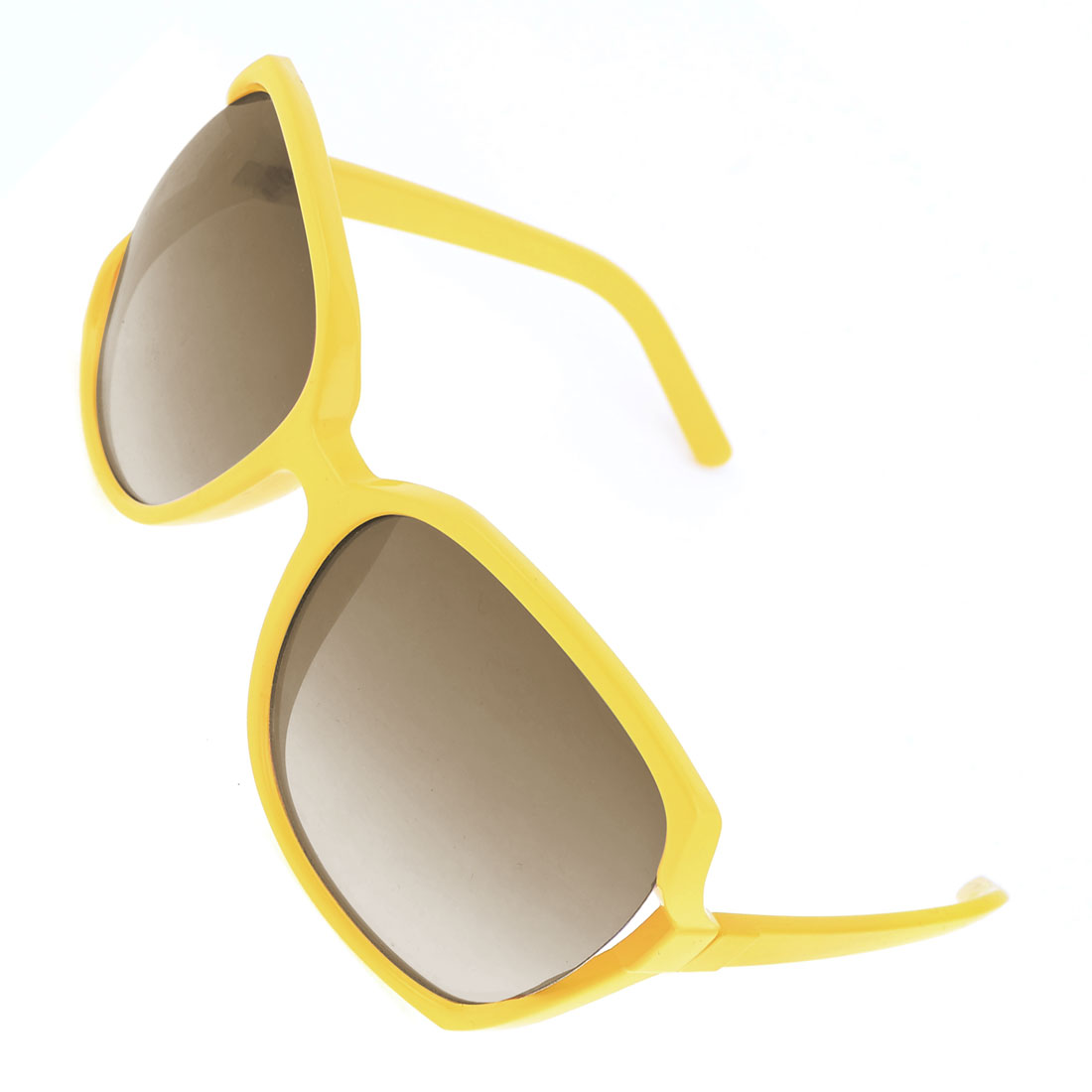 Lady Leisure Brown Rectangle Lens Yellow Full Frame Plastic Sunglasses
