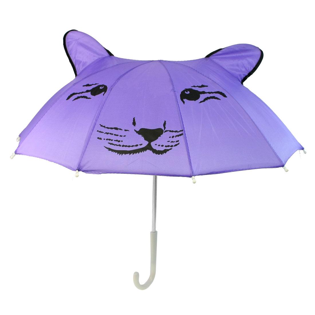Kids Plastic Handle Tiger Face Printed Folding Mini Umbrella Toy Purple