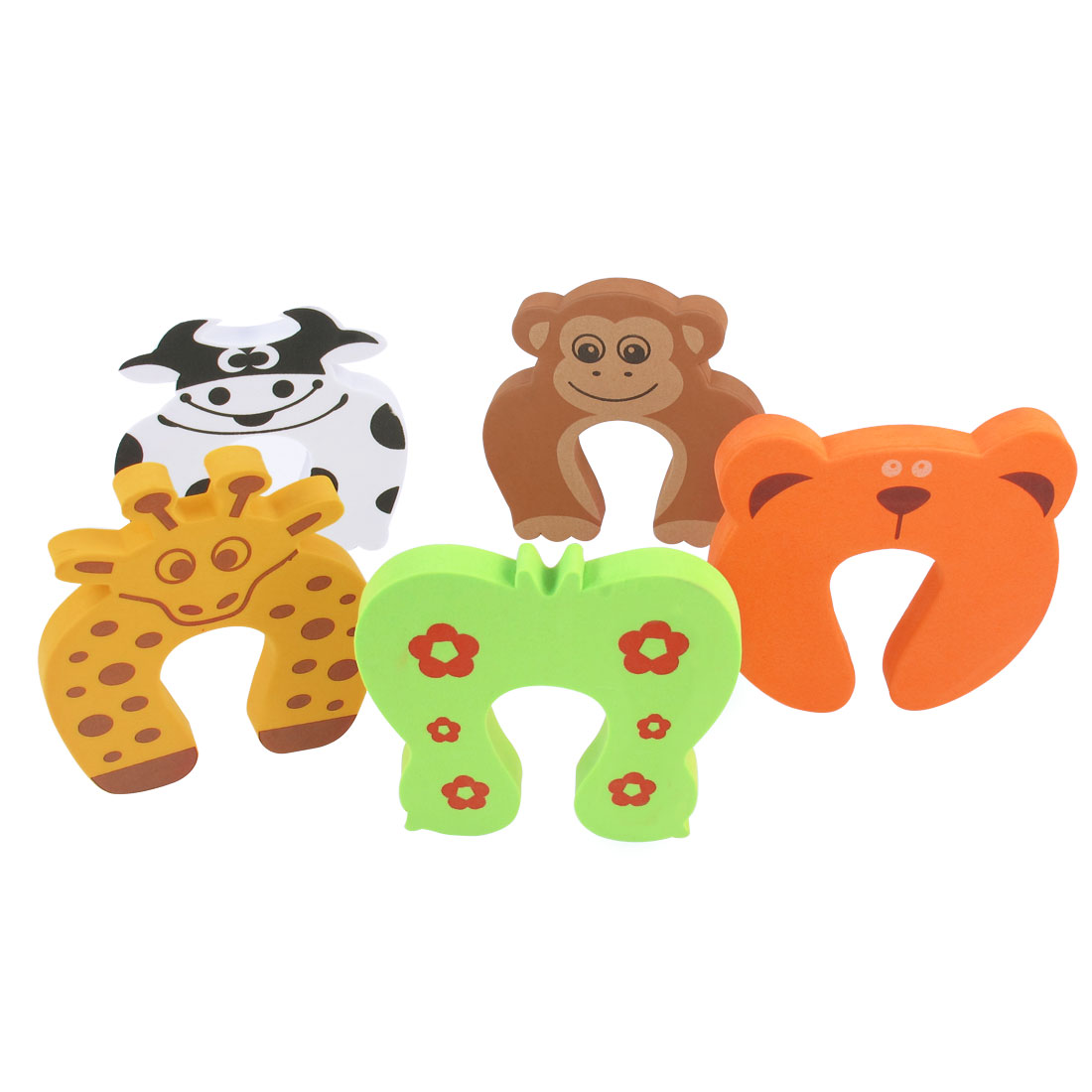 5 Pcs White Orange Light Green Foam Cow Bear Design Door Stopper Cushions