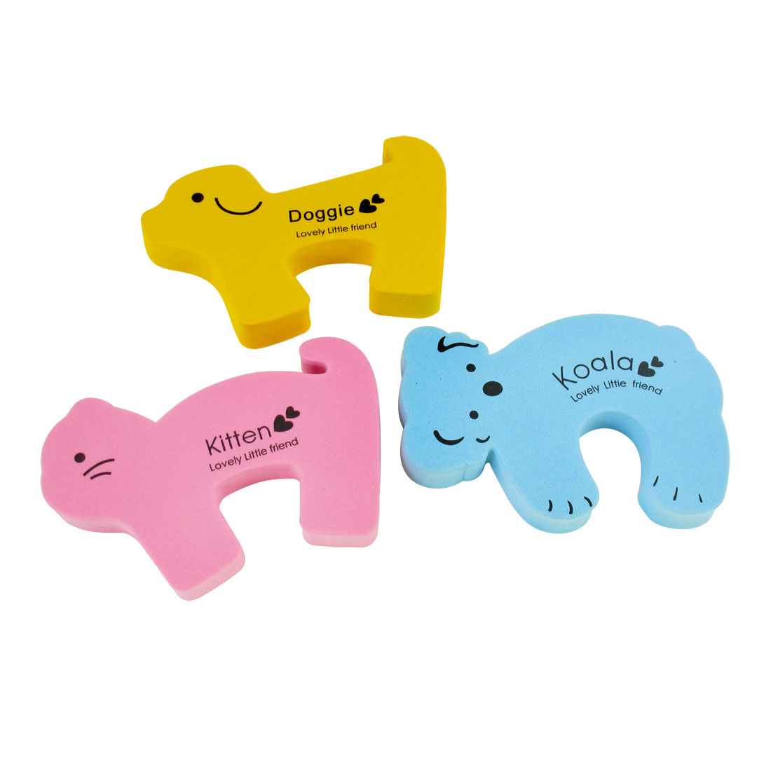 3 Pcs Yellow Light Pink Foam Cartoon Dog Kitten Design Door Stopper Cushion