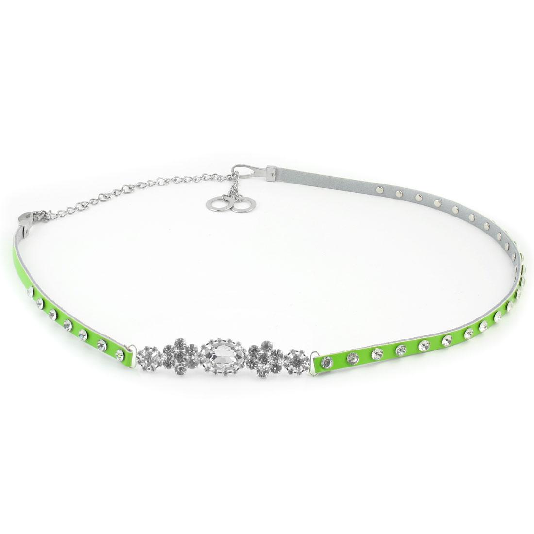 Faux Crystal Inlaid Flower Decor Hook Closure Light Green Waist Belt for Ladies