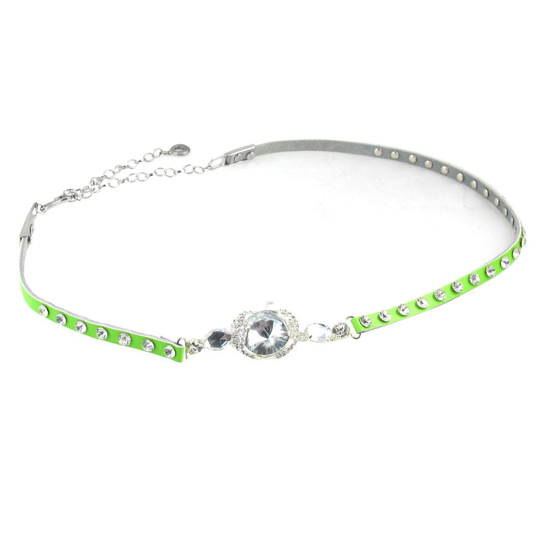 Faux Crystal Inlaid Apple Decor Hook Closure Light Green Waist Belt for Ladies