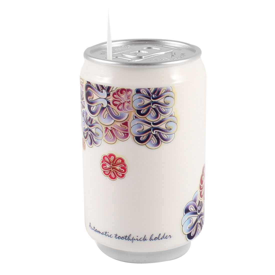 White Red Blue Florals Pattern Plastic Pop-top Can Shaped Automatic Toothpick Holder