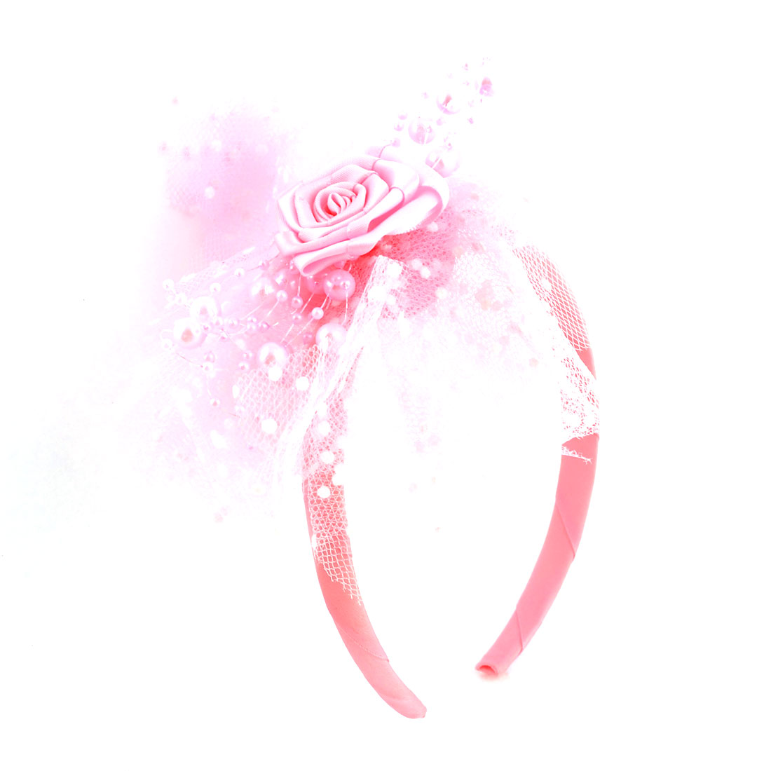 Girl Nylon Wrapped Mesh Lace Flower Decor Hairband Hair Hoop Pink