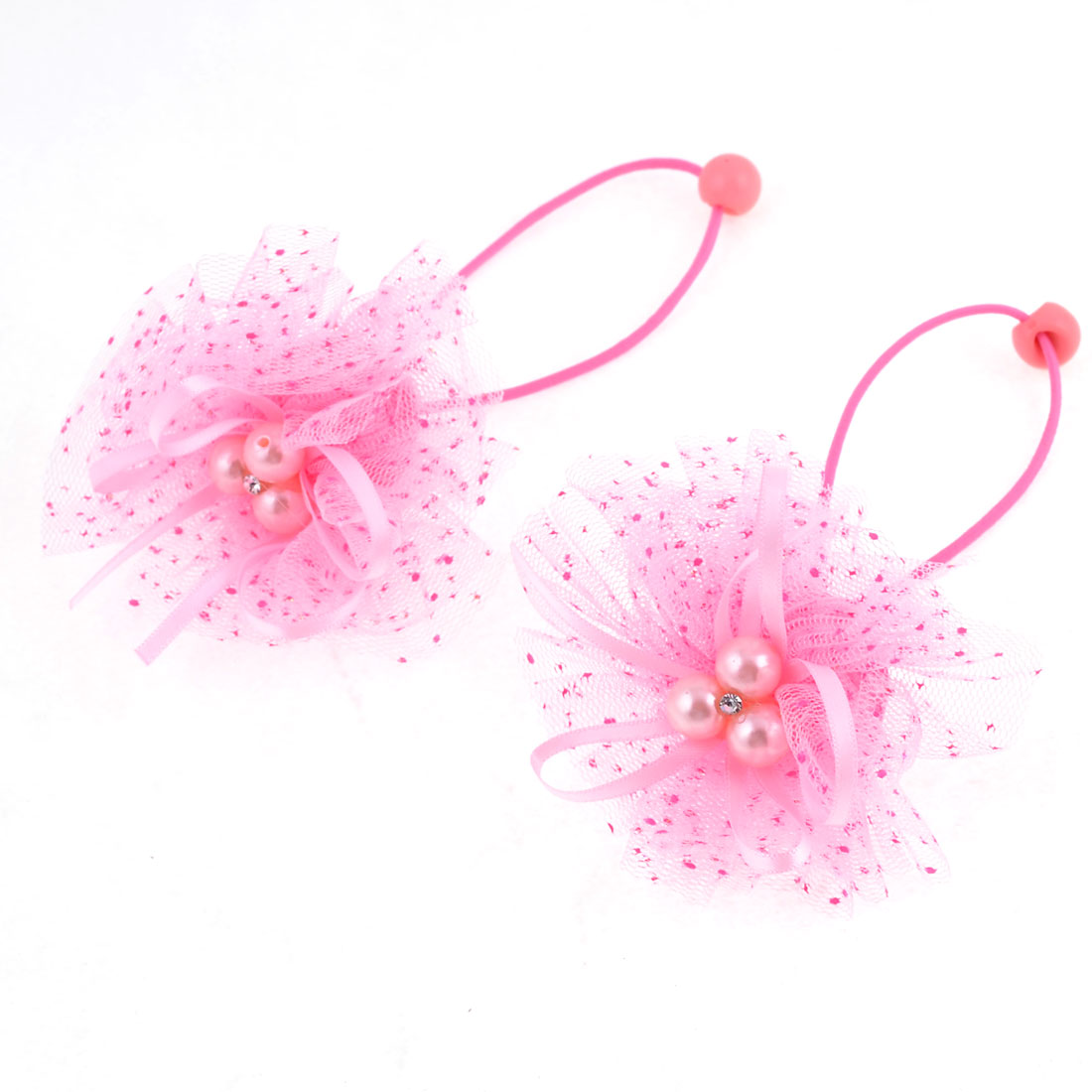 Pair Girl Pink Lace Beads Flower Decor Hair Ornament Ponytail Holder
