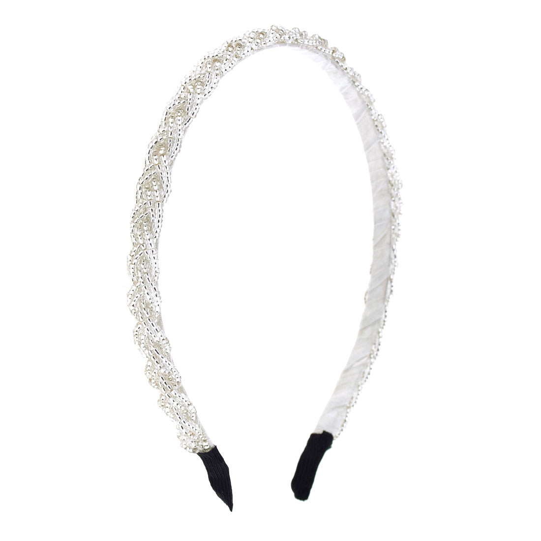 Lady Organza Wrapped Plastic Braided Beads Coated Metal Hairband Hair Hoop White