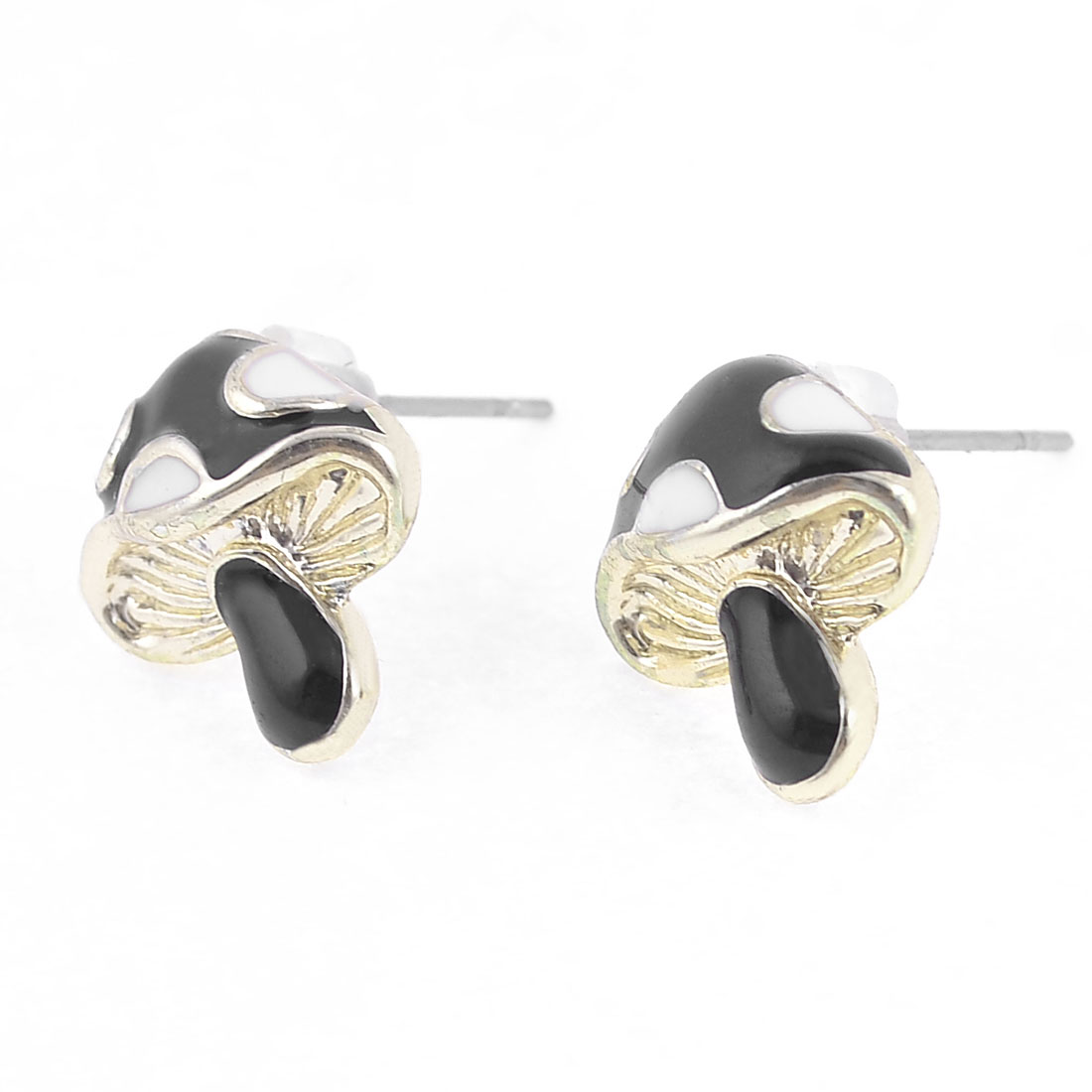 Lady Ear Decor Mashroom Detail Stud Earrings Black White Pair