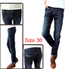 Men Belt Loops Zipper Fly Button Closure Slim Fit Jeans Pants Blue W36