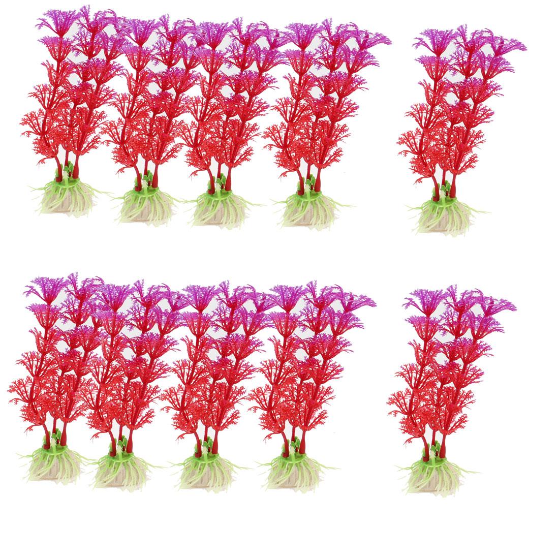 """10pcs Red Aquarium Decor Ceramic Base Plastic Aquatic Plant Grass 5"""" Height"""