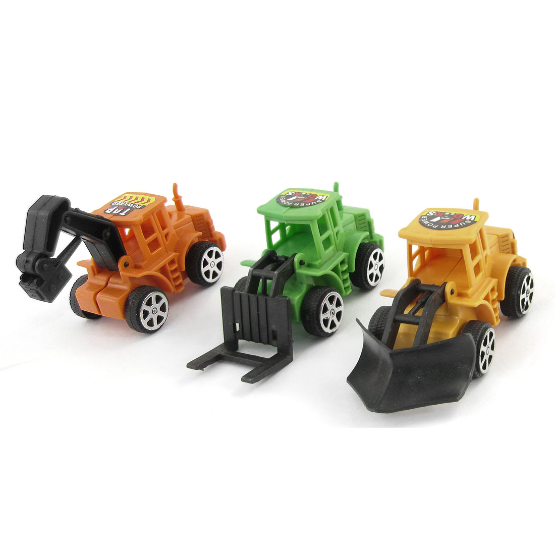3 in 1 Set Cars Toy Black Wheels Assorted Color Body Earthworks Plastic Truck