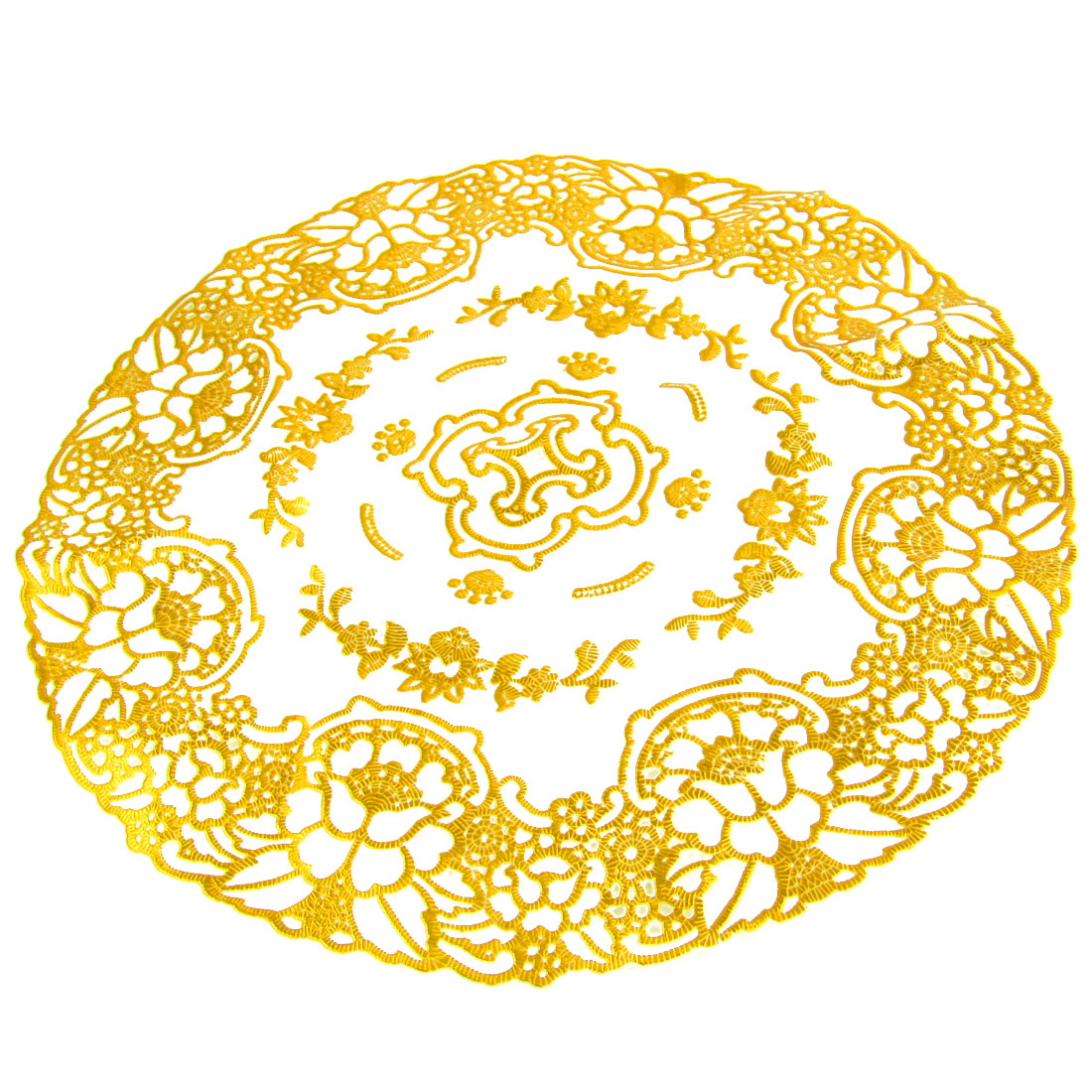 Round Gold Tone Flower Beige Plastic Table Cup Mat Pad 30cm Dia