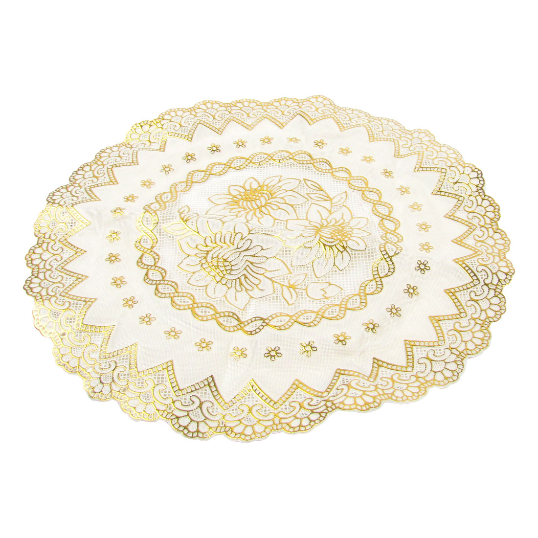 Protector Gold Tone Flower Beige Round Dinning Cup Mat 29cm Dia