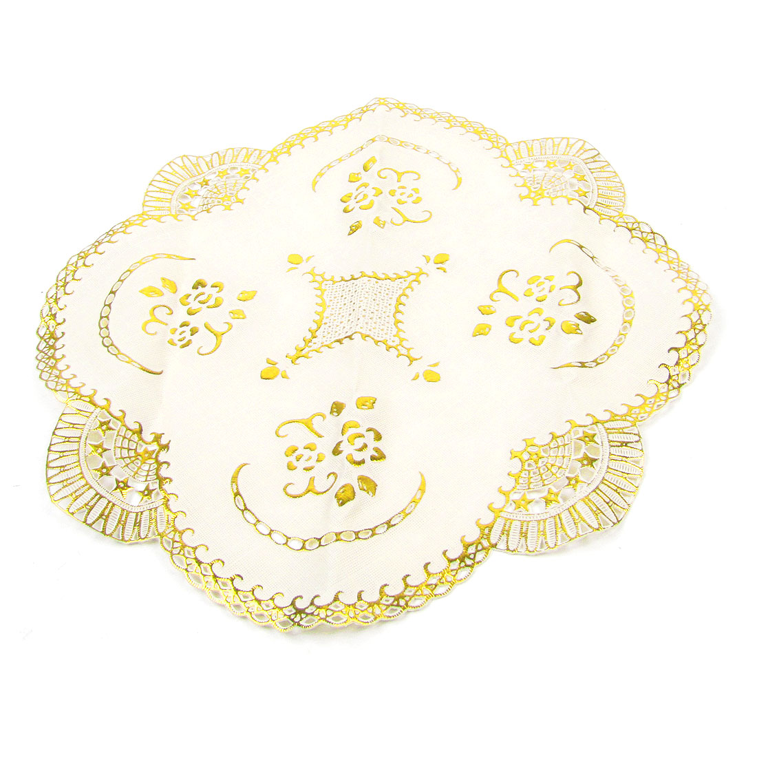 Round Flower Pattern Gold Tone Beige 29.5cm Dia Cup Pad Coasters