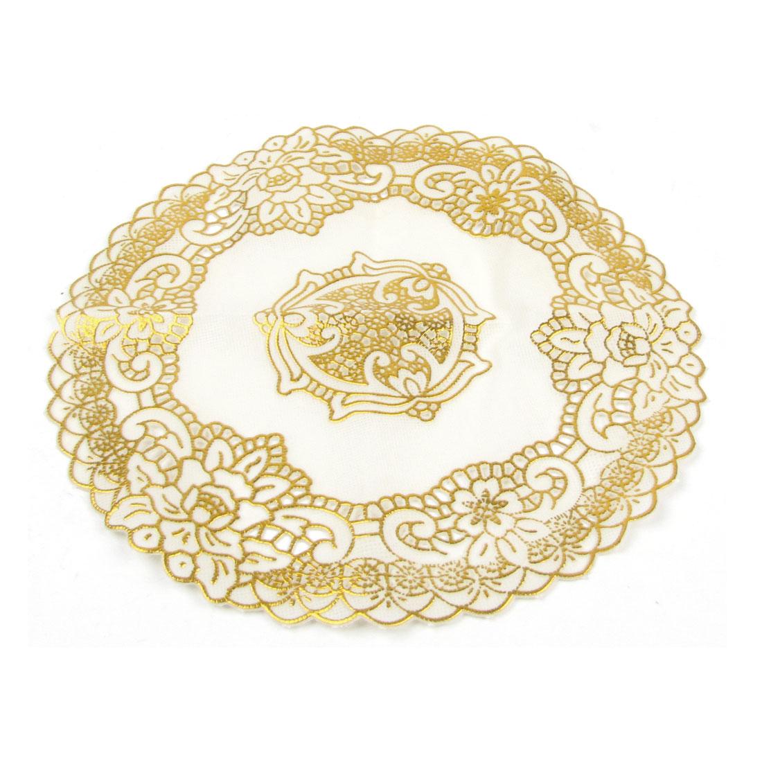 Gold Tone Flower Beige 20cm Dia Dinning Table Protecter Cup Mat