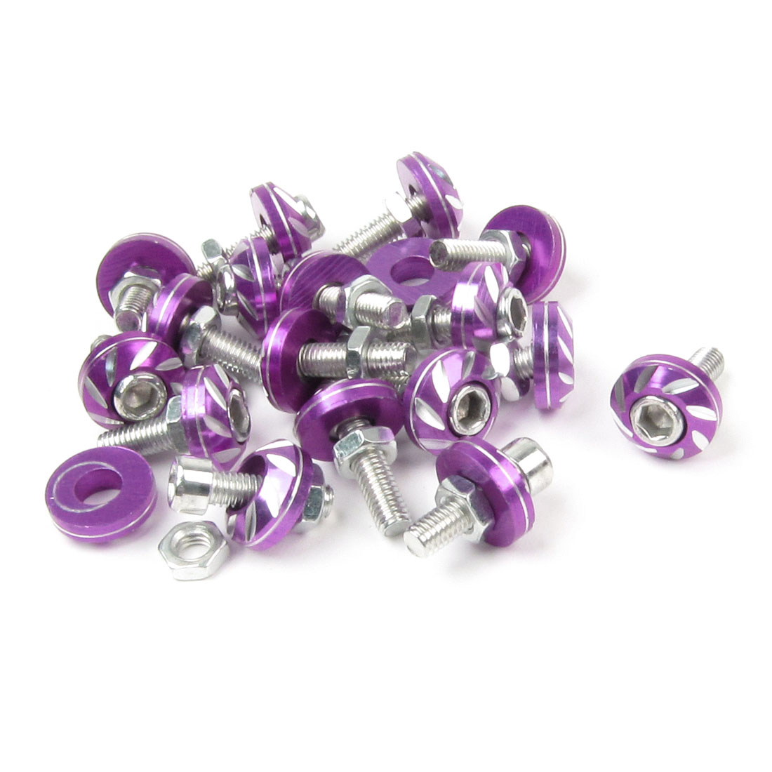 Car Auto License Plate Bolts Screws Decoration Purple Silver Tone 20pcs