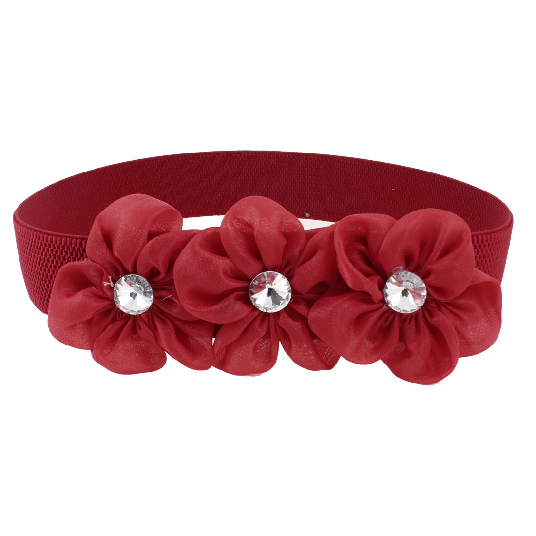 Lady Faceted Crystal Inlaid Red Organza Flower Decor Elastic Waist Band Belt