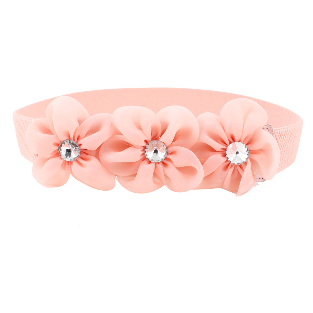 Lady Faceted Crystal Inlaid Light Pink Organza Flower Decor Elastic Waist Band Belt