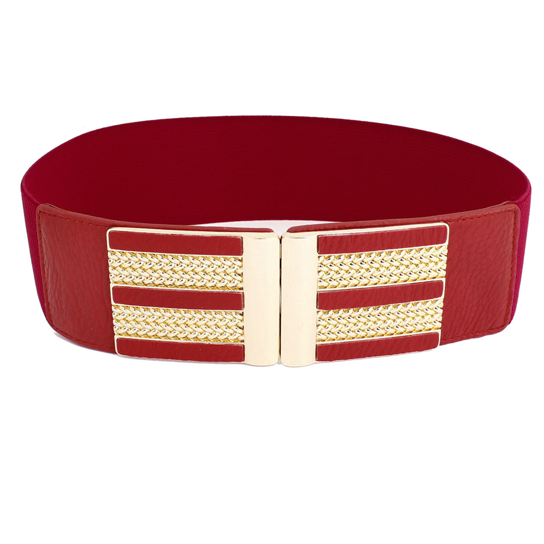Ladies Metal Interlocking Buckle Stretchy Waistband Belt Decor 6cm Width Red