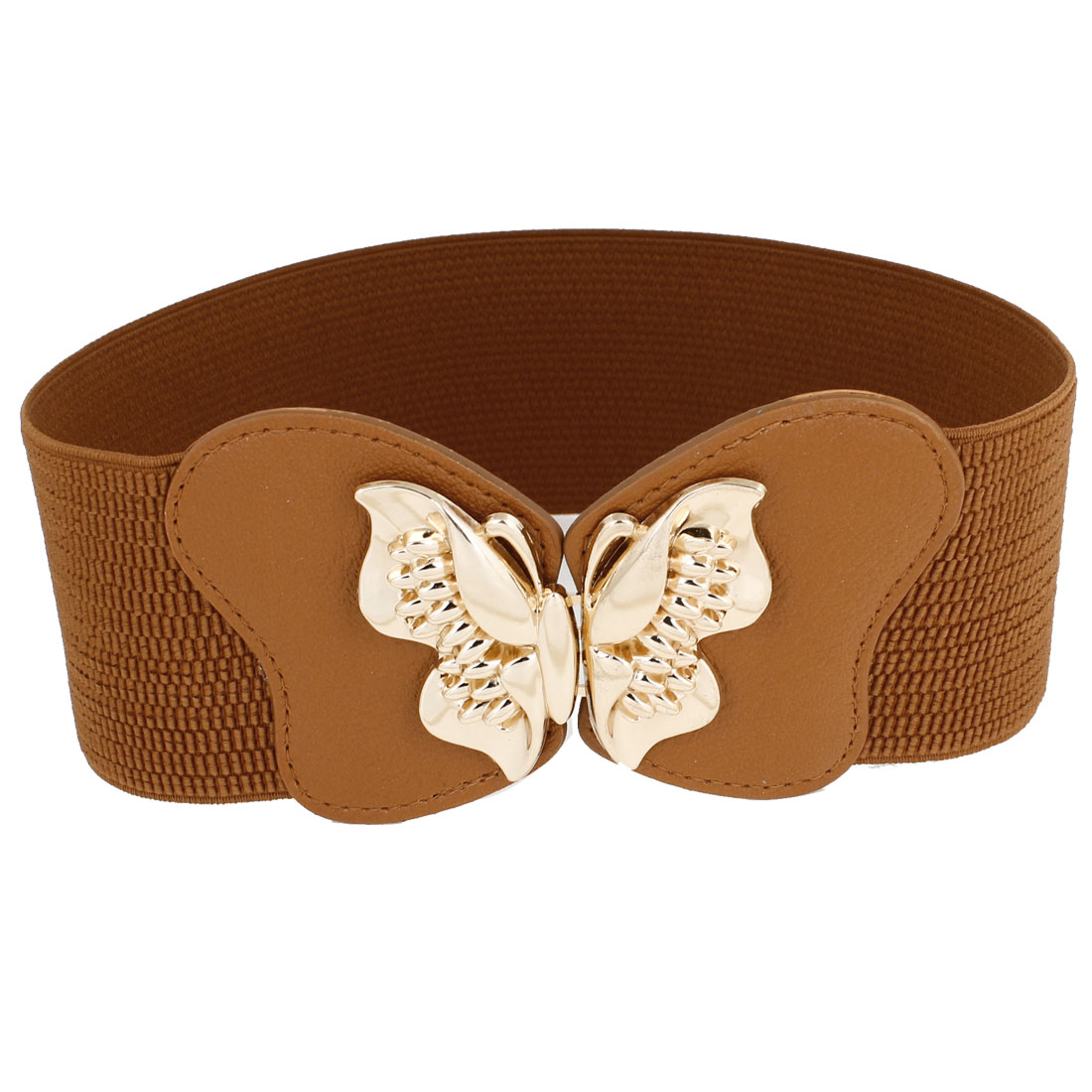 Lady Women Gold Tone Metal Butterfly Buckle Stretchy Cinch Belt Brown