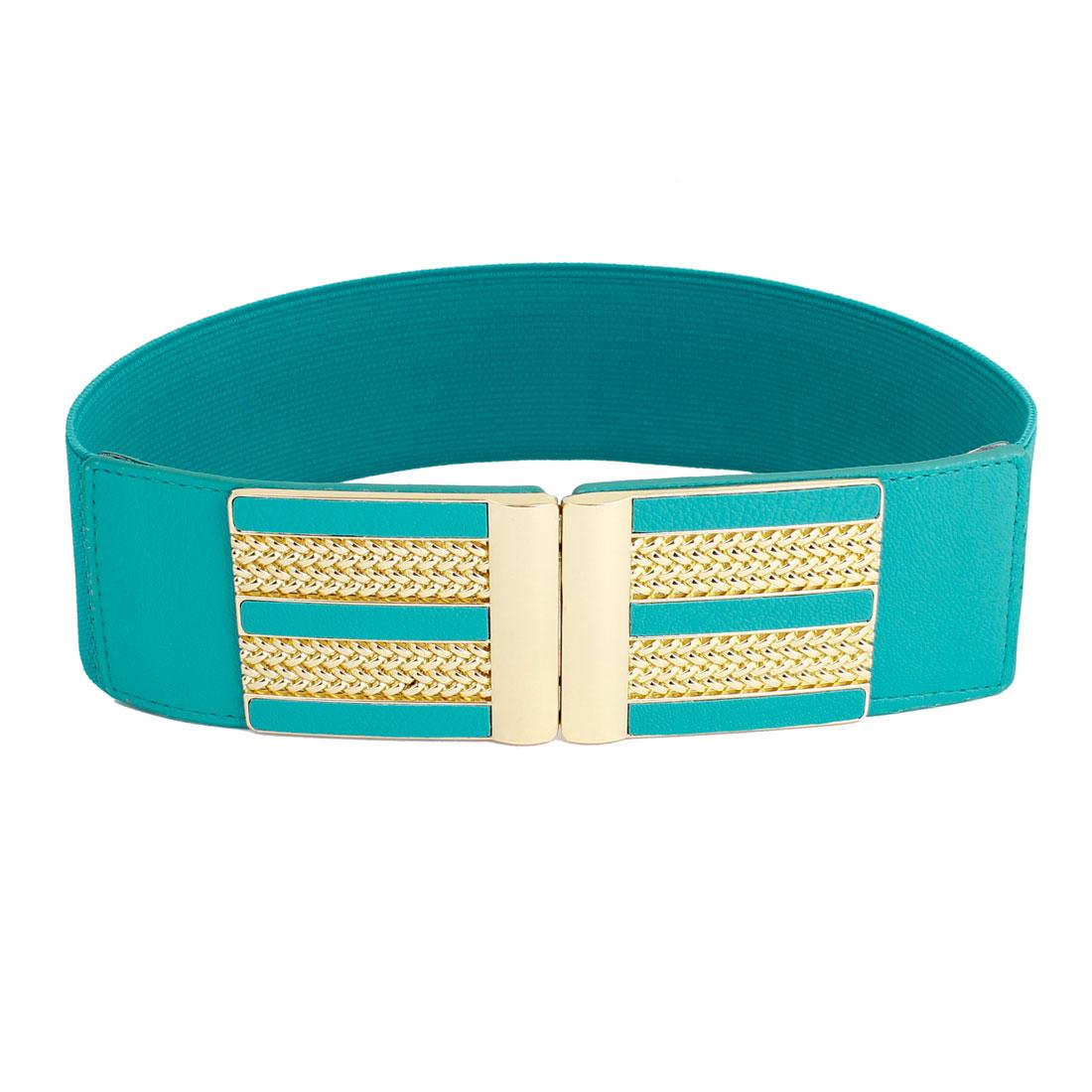 Gold Tone Metal Interlocking Buckle Stretch Cinch Waist Belt Teal Green for Lady