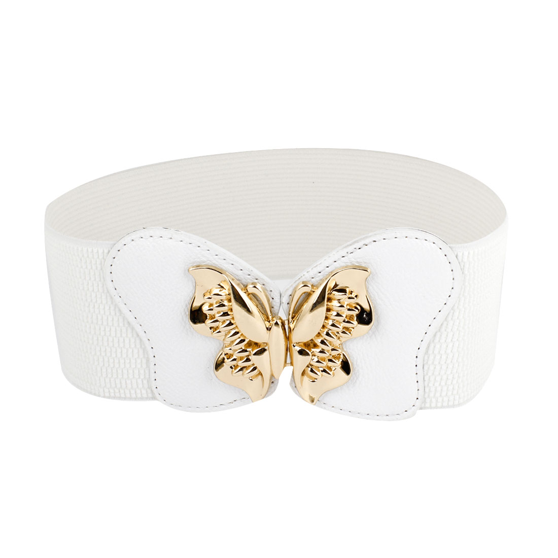Gold Tone Butterfly Interlock Buckle Elastic Cinch Belt White for Women