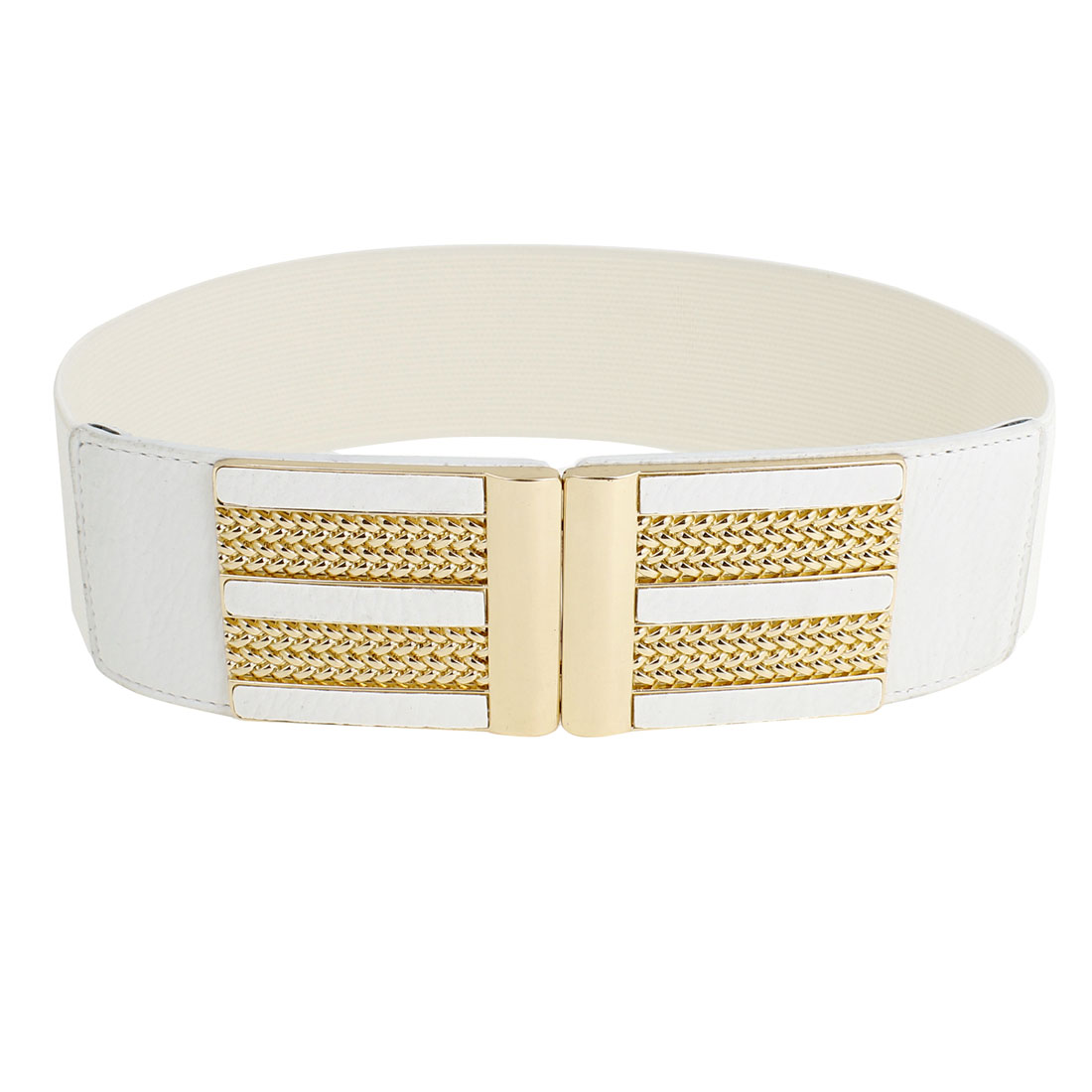 Gold Tone Metal Interlocking Buckle White Stretch Cinch Waist Belt for Women