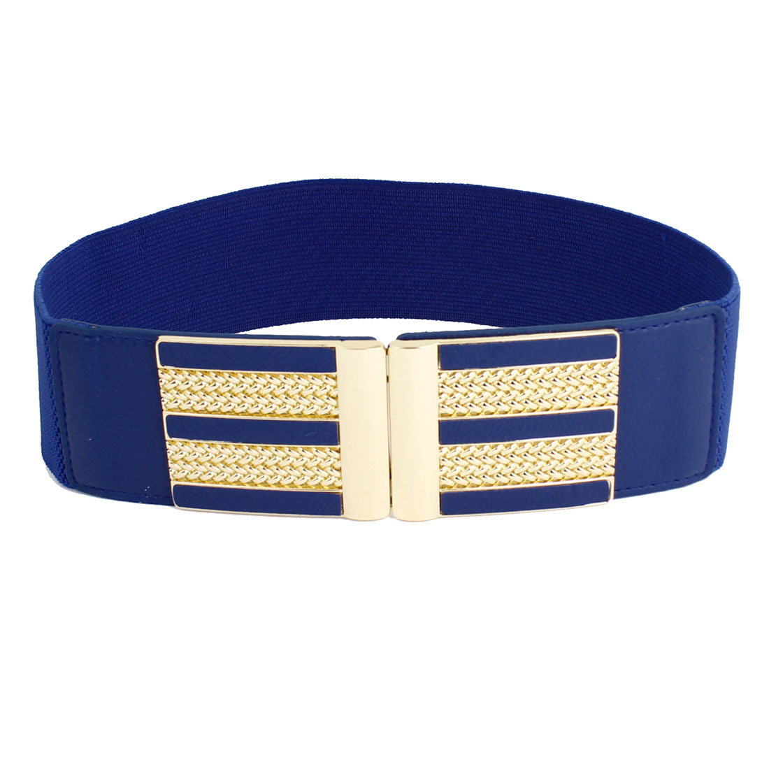 Women Metal Interlocking Buckle Stretchy Waistband Belt Decor 6cm Width Blue