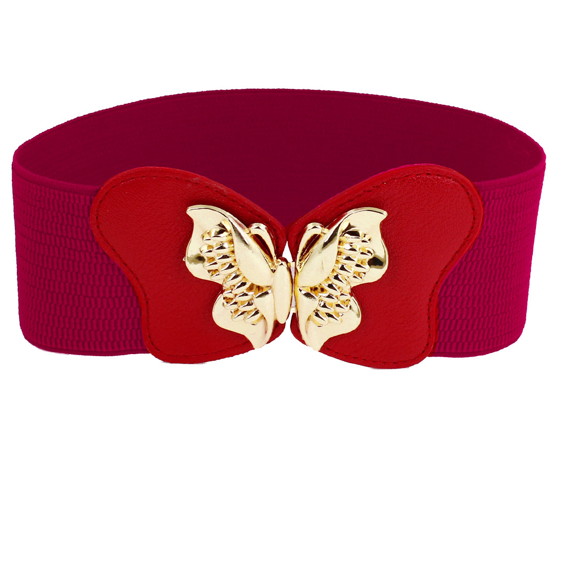 Lady Women Gold Tone Metal Butterfly Buckle Stretchy Cinch Belt Red