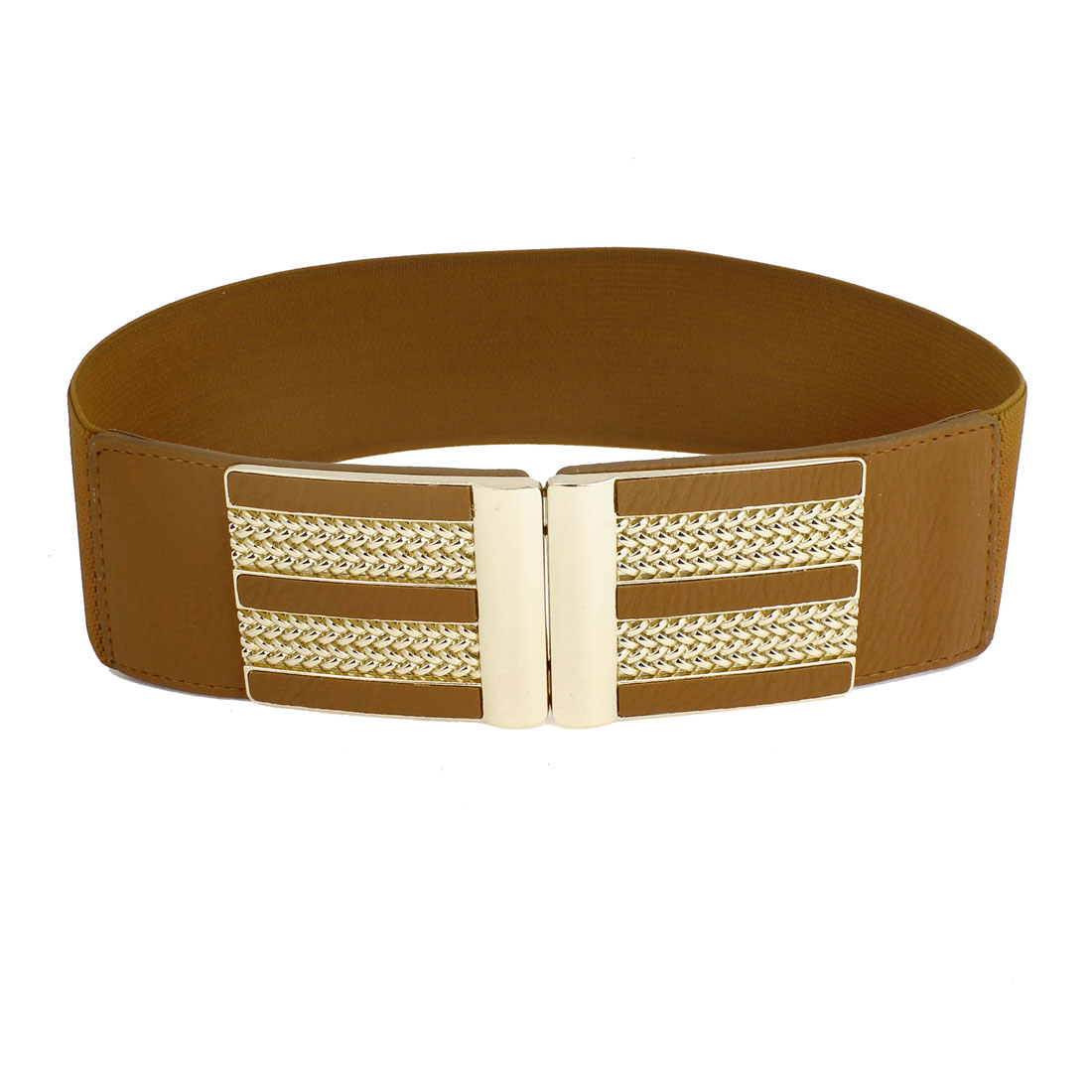 Lady Brown Faux Leather Decor Interlock Buckle Textured Elastic Waist Belt