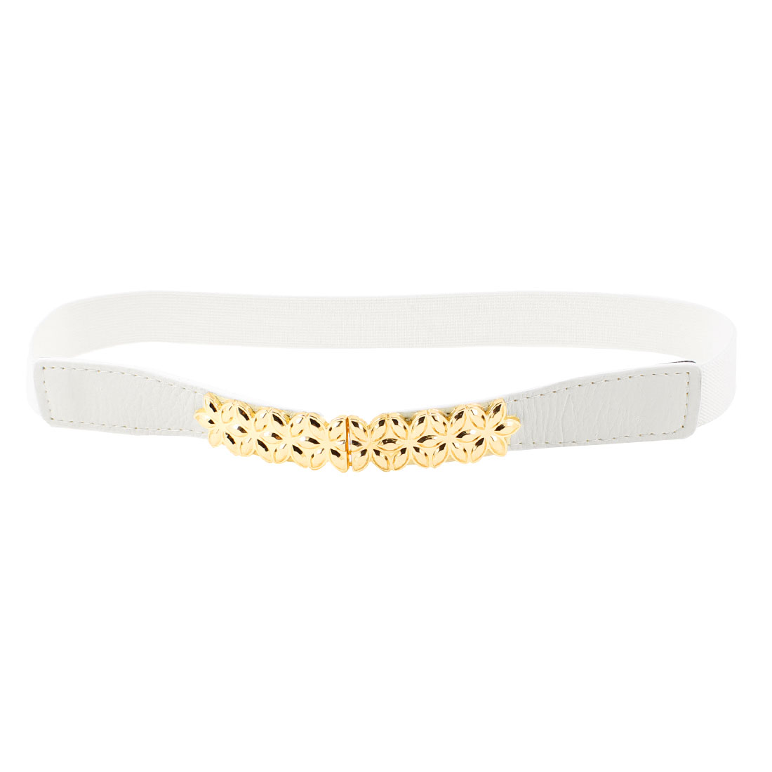 Gold Tone Metal Flower Decor White Elastic Skinny Waist Band Belt for Women