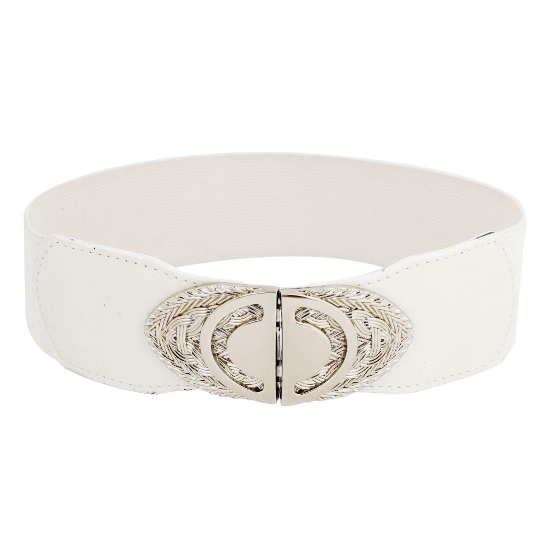 Gary Oval Interlocking Buckle Elastic Fabric Waist Cinch Belt Ivory for Women