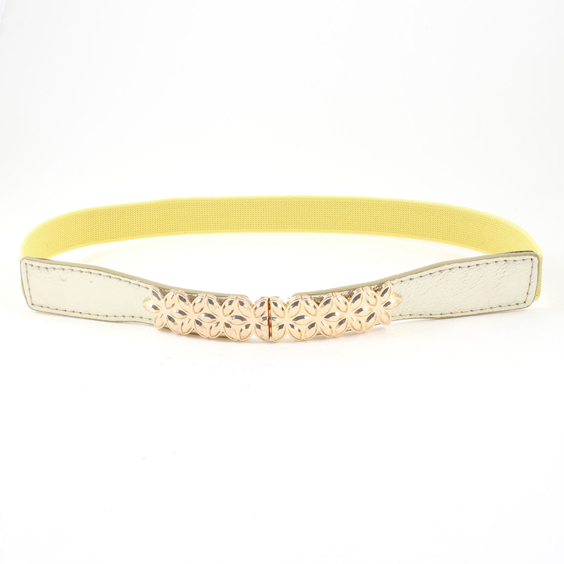 Gold Tone Metal Flower Decorated Elastic Skinny Waist Band Belt for Ladies