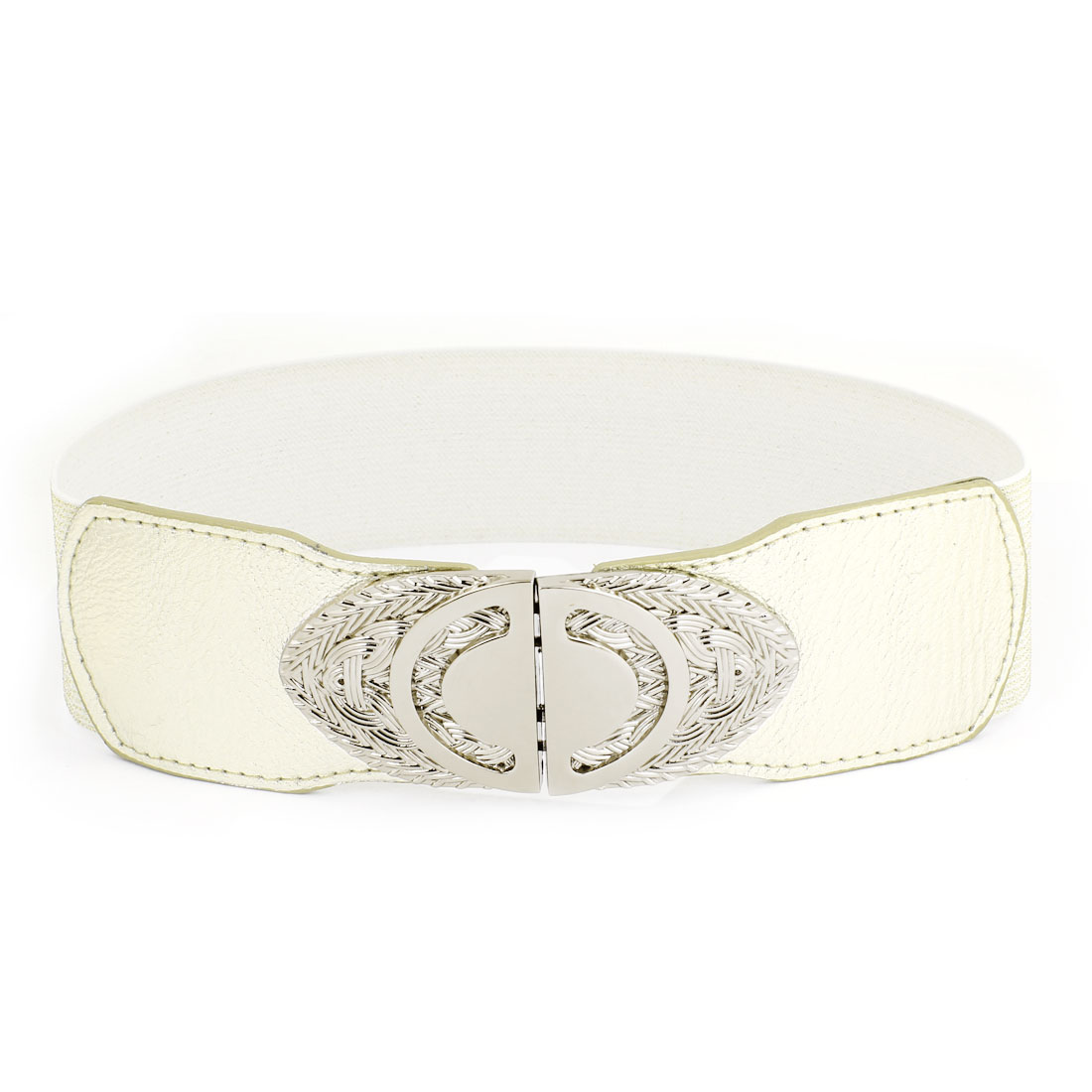 Gary Oval Interlocking Buckle Elastic Fabric Waist Cinch Belt Gold Tone for Women