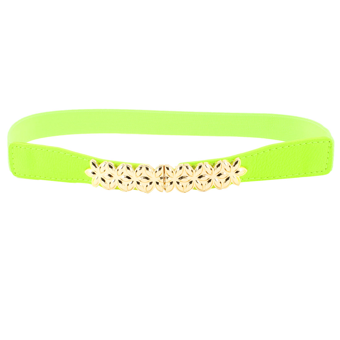 Gold Tone Metal Flower Decor Lime Elastic Skinny Waist Band Belt for Lady