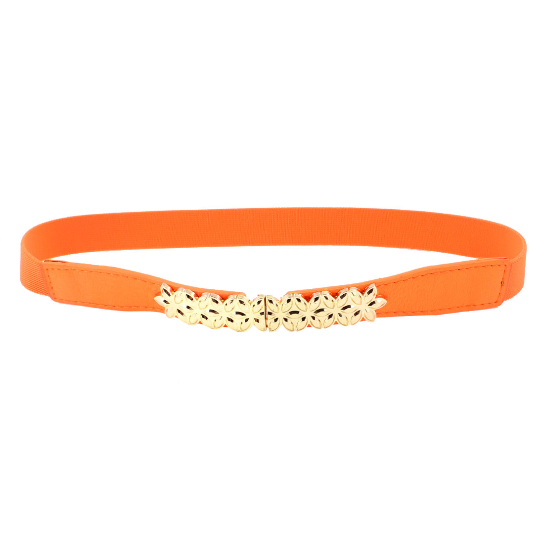 Gold Tone Metal Flower Decor Orange Elastic Skinny Waist Band Belt for Women