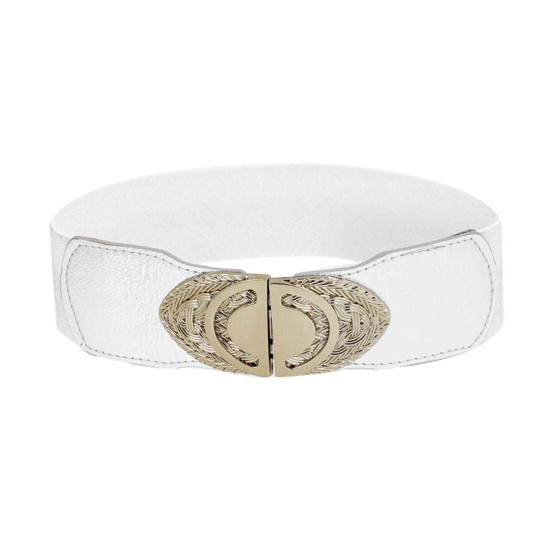 Silver Tone Faux Leather Wrapped Oval Interlock Buckle Stretchy Cinch Belt for Ladies