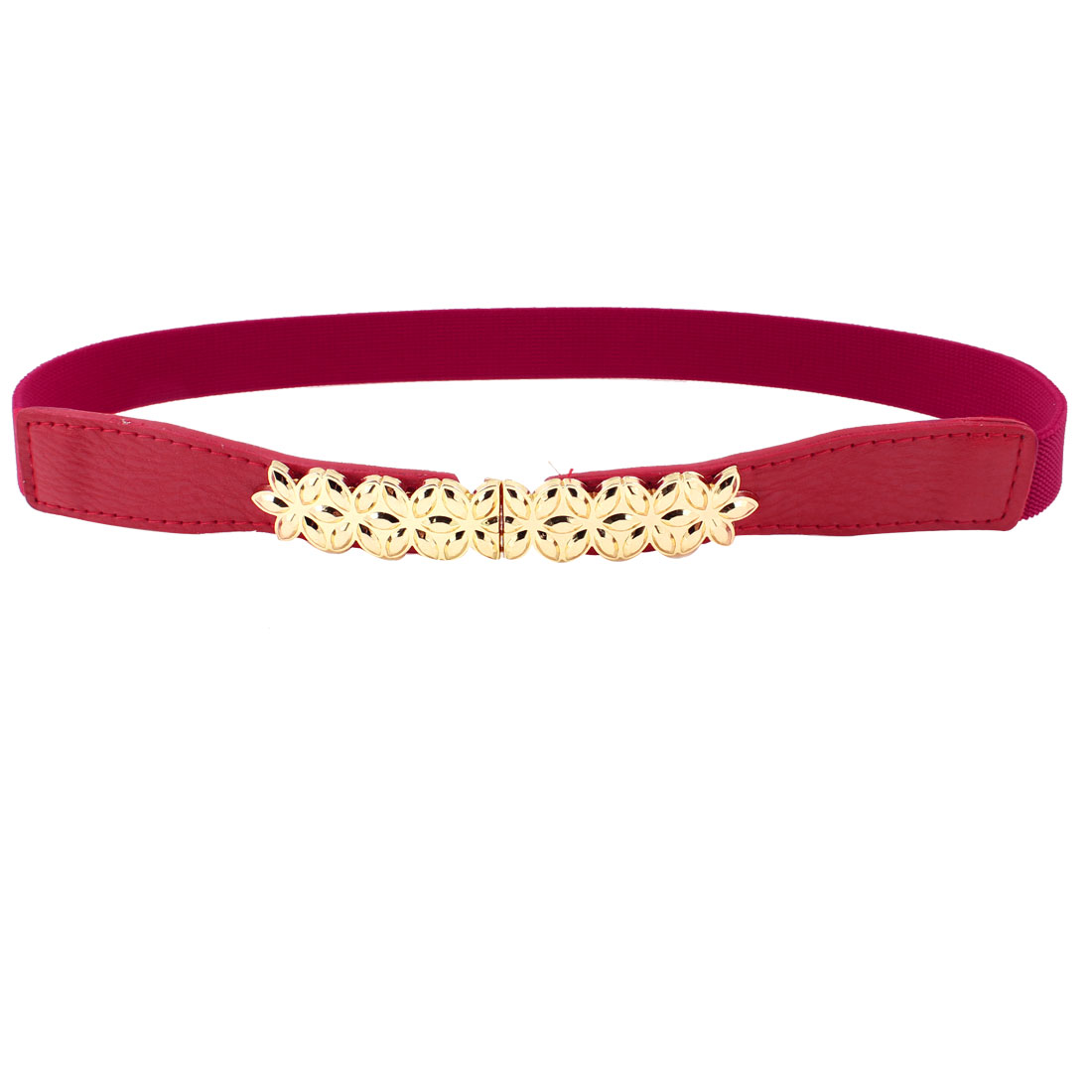 Gold Tone Metal Flower Decor Red Elastic Skinny Waist Band Belt for Lady