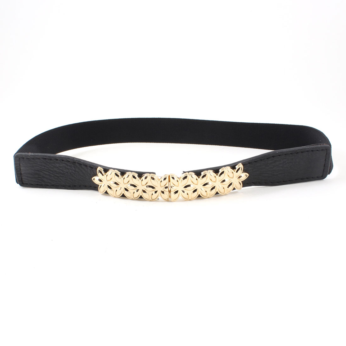 Gold Tone Metal Flower Decor Black Elastic Skinny Waist Band Belt for Women