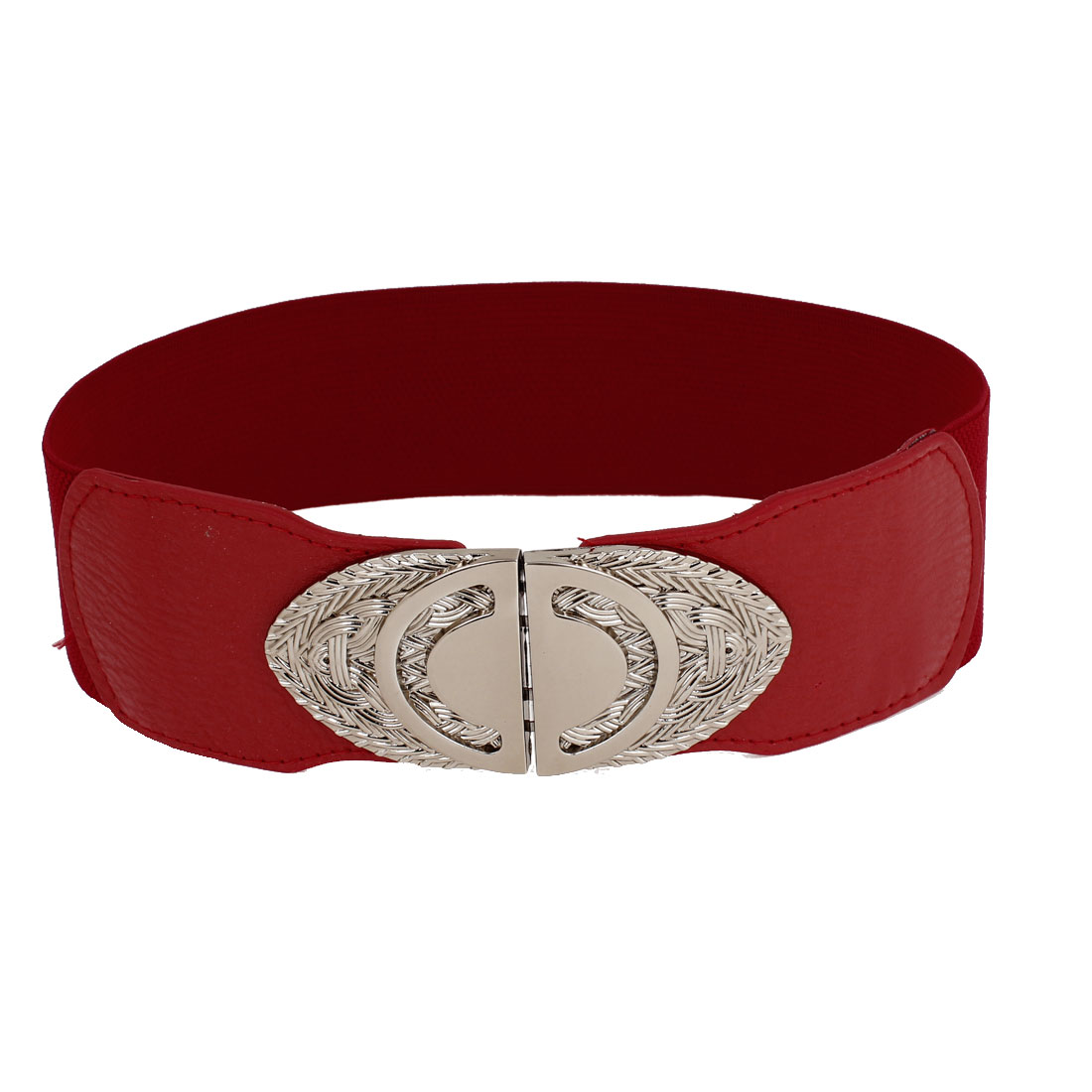 Woman Lady Oval Interlock Buckle Red Faux Leather Coated Stretch Cinch Belt