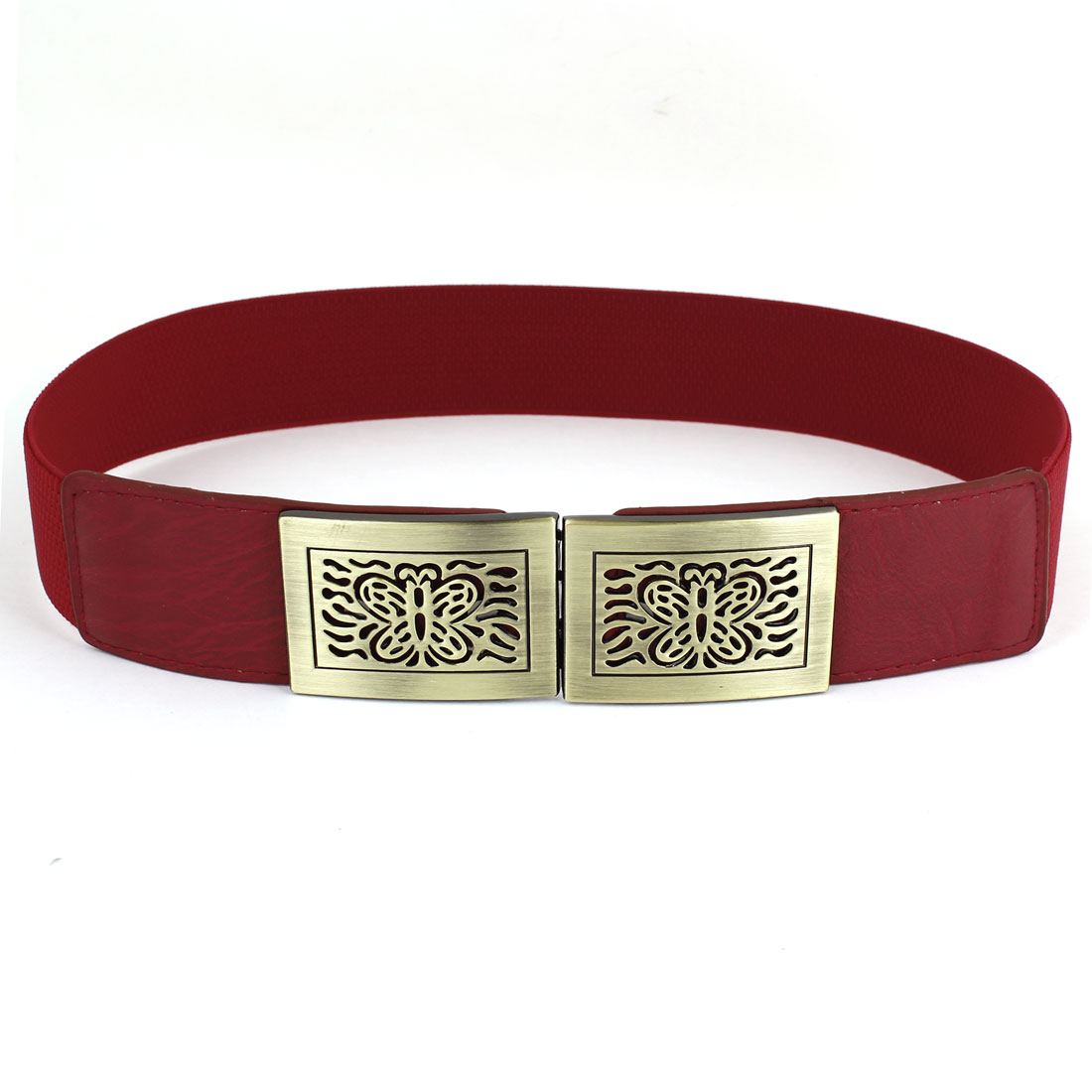 3.8cm Wide Bronze Tone Metal Interlock Buckle Red Waist Cinch Belt for Lady