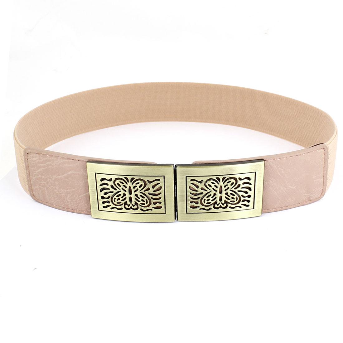 Bronze Tone Butterfly Interlock Buckle Elastic Cinch Belt Pink for Women