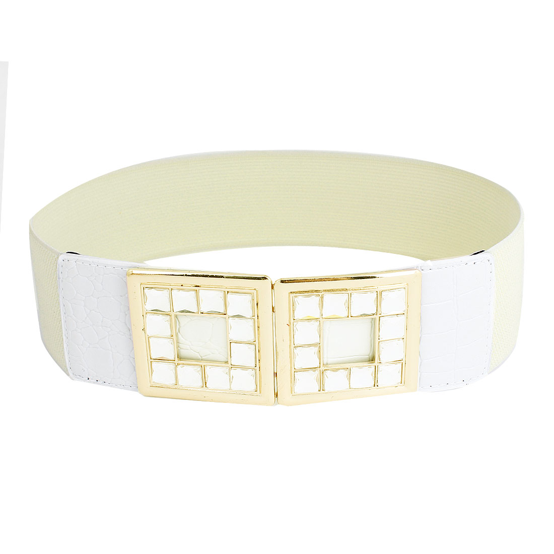Crystals Detail Interlocking Buckle 6cm Width Cinch Waist Belt Ivory for Women