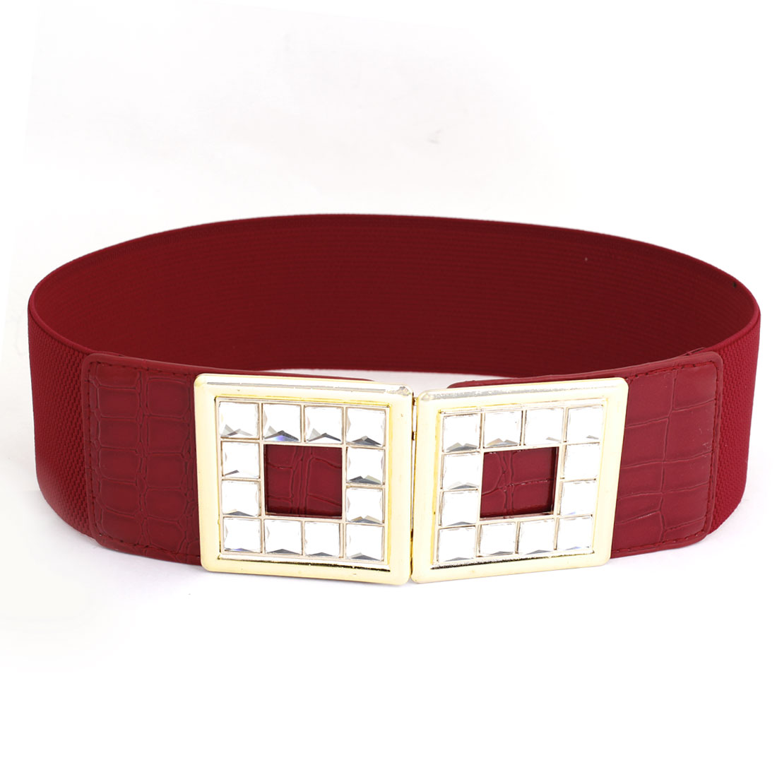 Ladies Crystal Detail Interlock Buckle 6cm Wide Elastic Waistbelt Cinch Belt Red