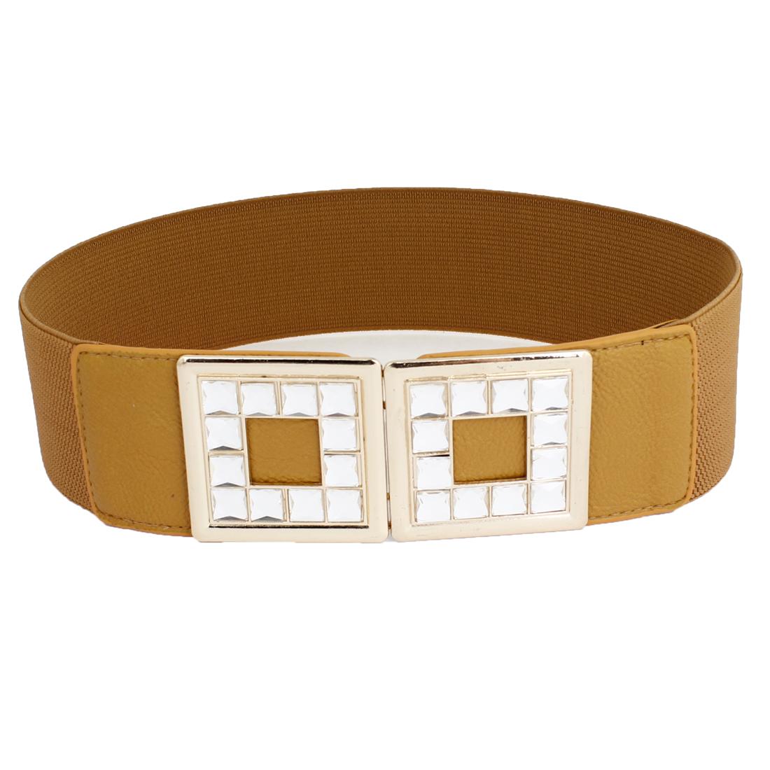 Faux Crystal Decor Interlocking Buckle 6cm Width Cinch Waist Belt Brown for Lady
