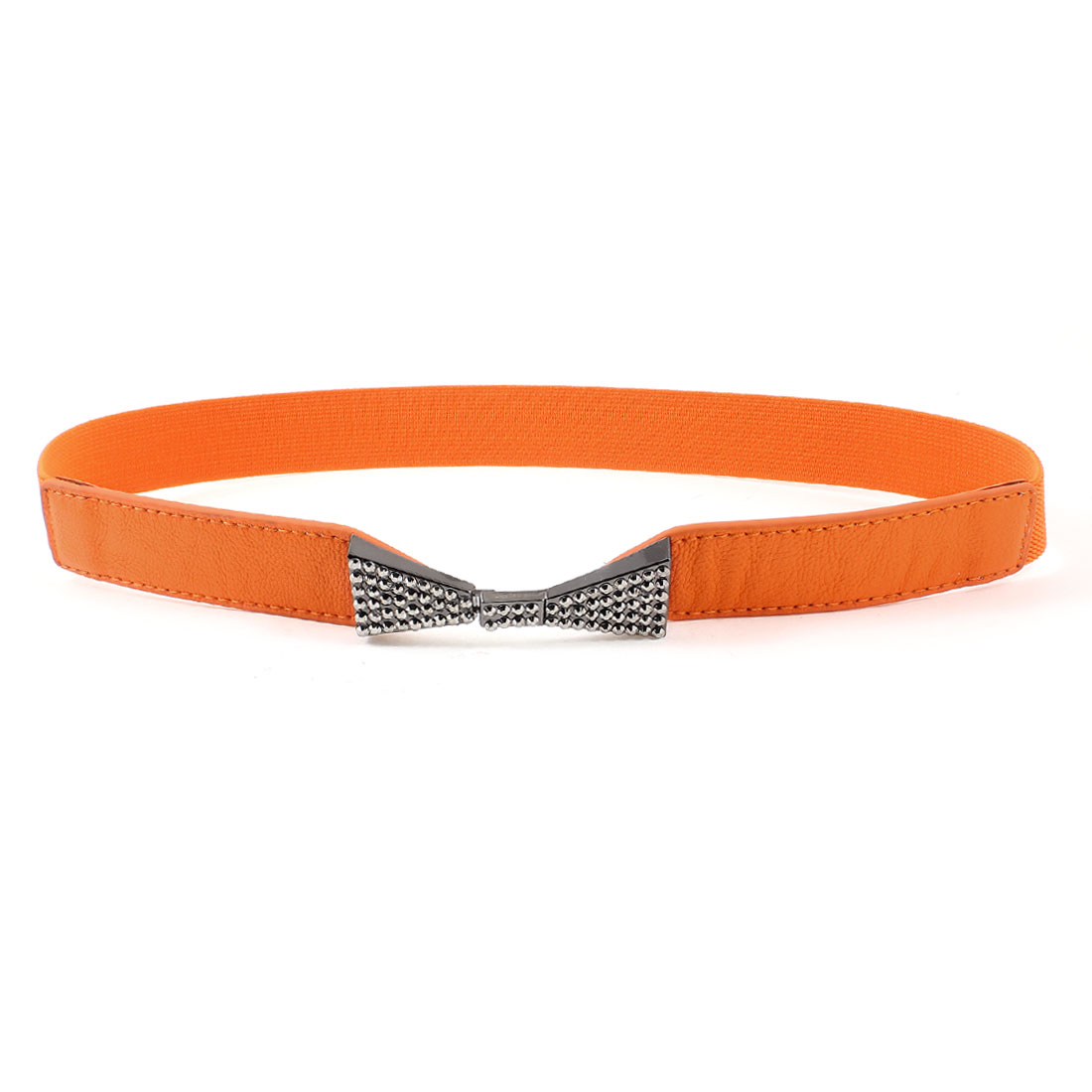 Women Dark Gray Bowknot Rhinsetone Detail Orange Skinny Elastic Waist Band Belt