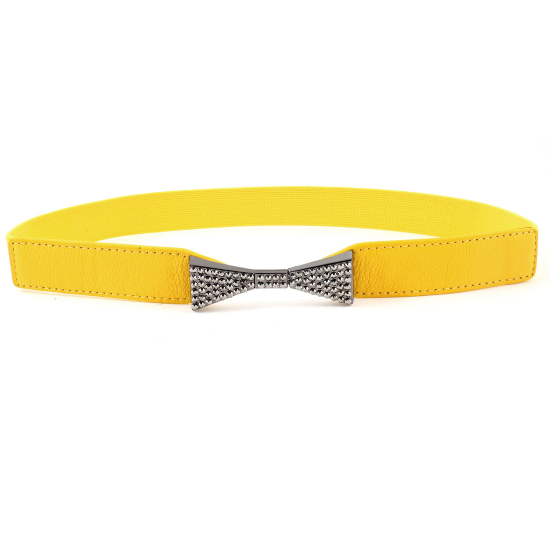 Women Dark Gray Bowknot Rhinsetone Detail Yellow Skinny Elastic Waist Band Belt