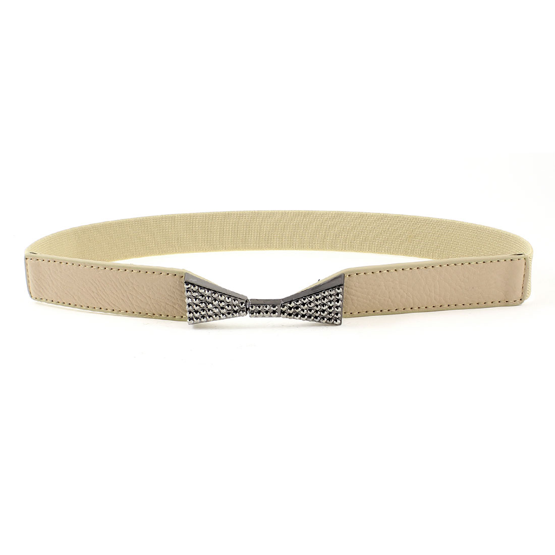 Women Dark Gray Bowknot Rhinsetone Detail Khaki Skinny Elastic Waist Band Belt