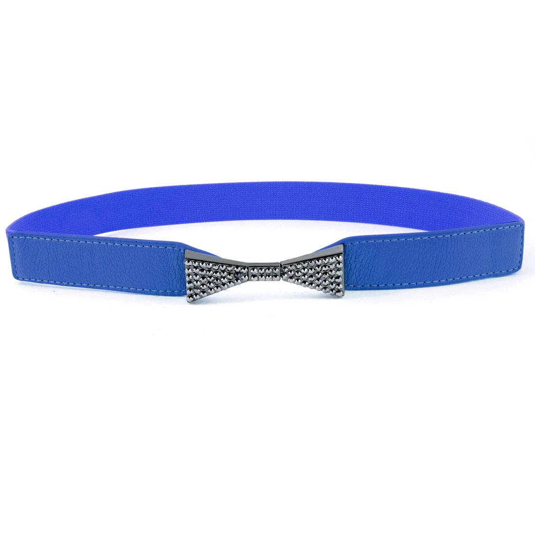 Women Dark Gray Bowknot Rhinsetone Detail Blue Skinny Elastic Waist Band Belt