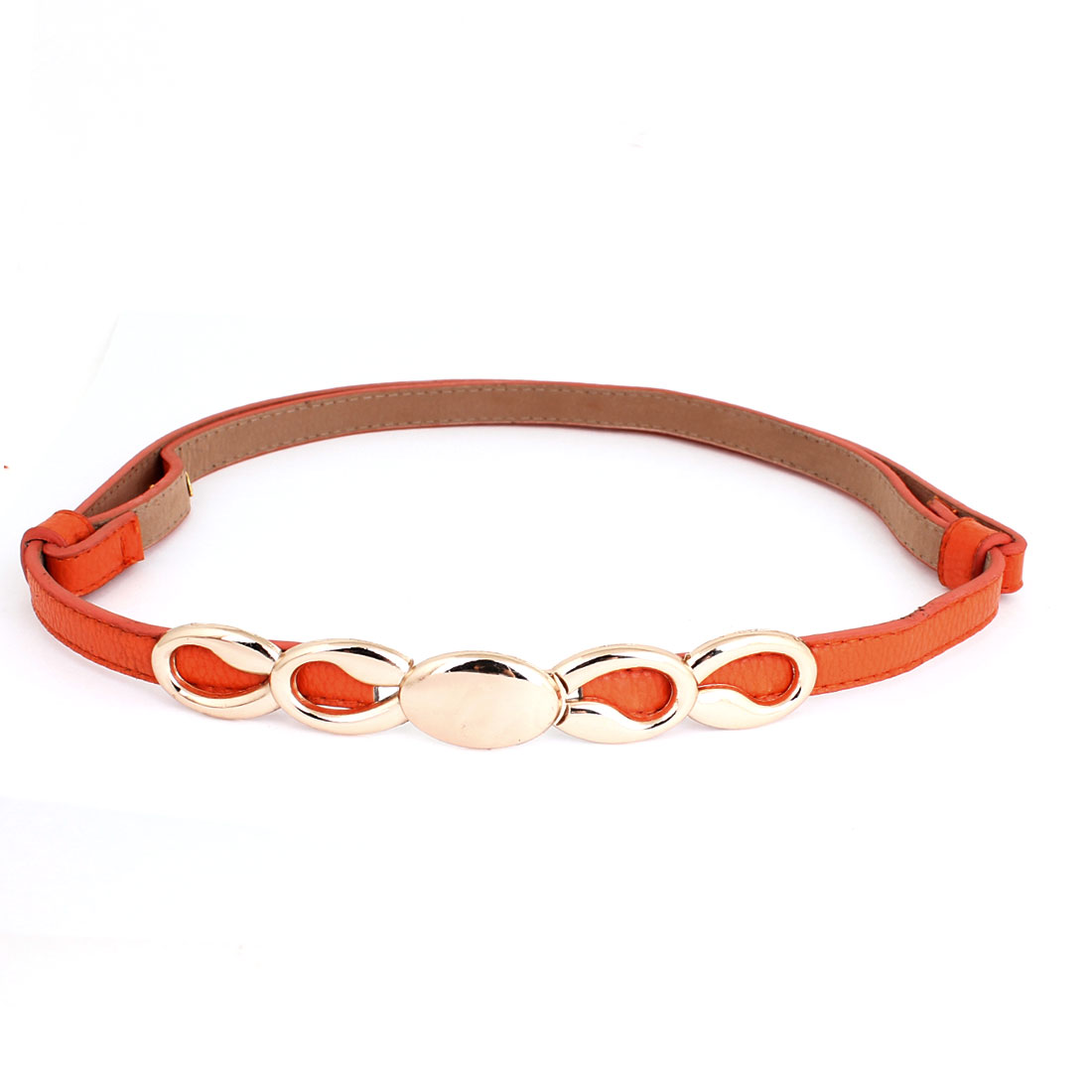 Metal Interlock Buckle Faux Leather Adjustable Slim Cinch Belt Orange for Woman