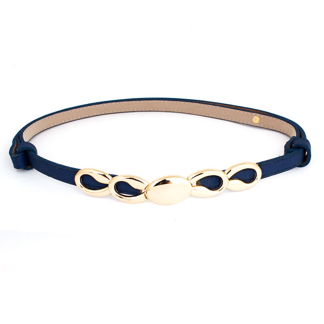 Lady Gold Tone Interlocking Buckle Faux Leather Adjustable Waist Belt Dark Blue